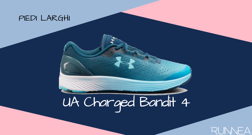 Scarpe da running per i corridori con piedi larghi, Under Armour Charged Bandit 4