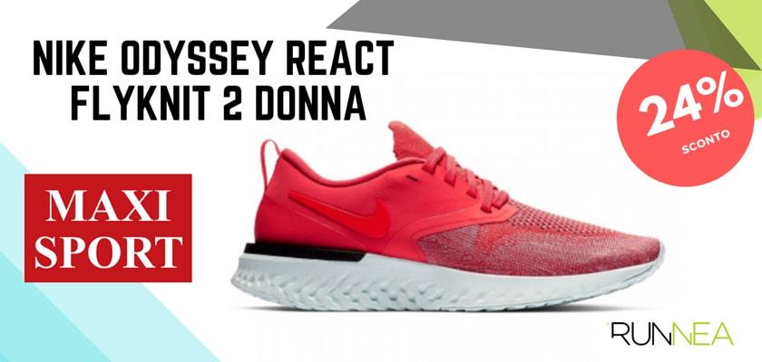 Nike Running in Maxi Sport: 8 prezzi migliori su scarpe da corsa, Nike Odyseey React Flyknit 2 donna