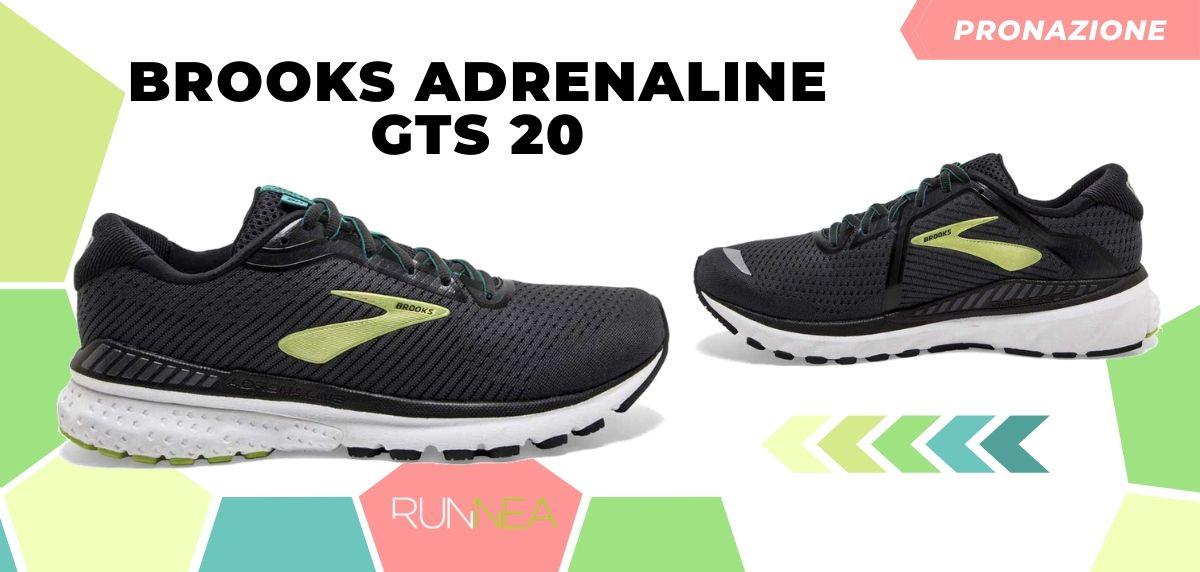 Migliori scarpe da running 2020 di pronazione, Brooks Adrenaline GTS 20